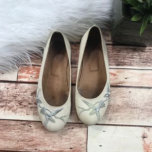 Joie embroidered bird flats